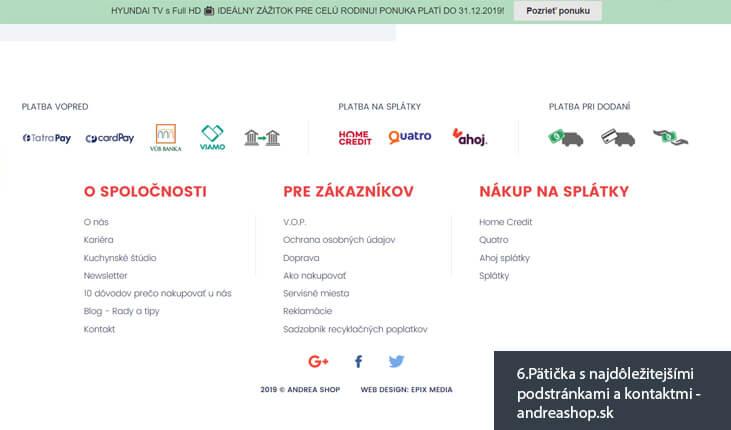(6.Ukážka pätičky s najdôležitejšími podstránkami a kontaktmi - andreashop.sk)