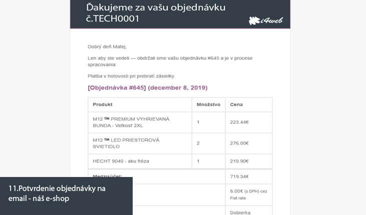 (11.Ukážka potvrdenia objednávky na email - náš e-shop)
