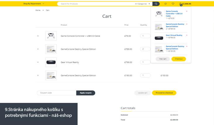 9.Ukážka stránky nákupného košíku s potrebnými funkciami - náš e-shop)