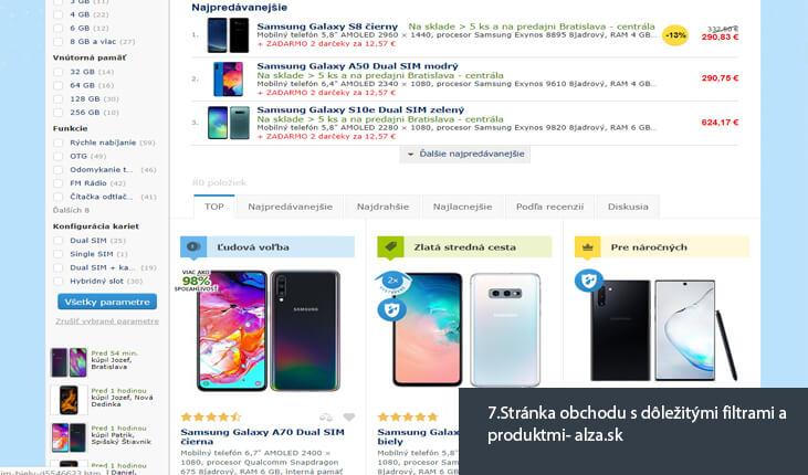 (7.Ukážka stránky obchodu s dôležitými filtrami a produktmi - alza.sk)