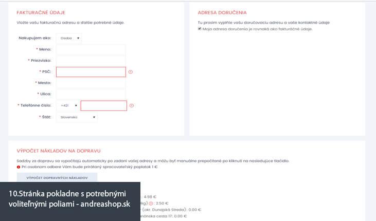 (10.Ukážka stránka pokladne s potrebnými voliteľnými poliami - andreashop.sk)