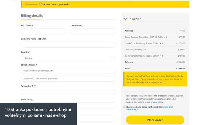 (10.Ukážka stránka pokladne s potrebnými voliteľnými poliami - náš e-shop)